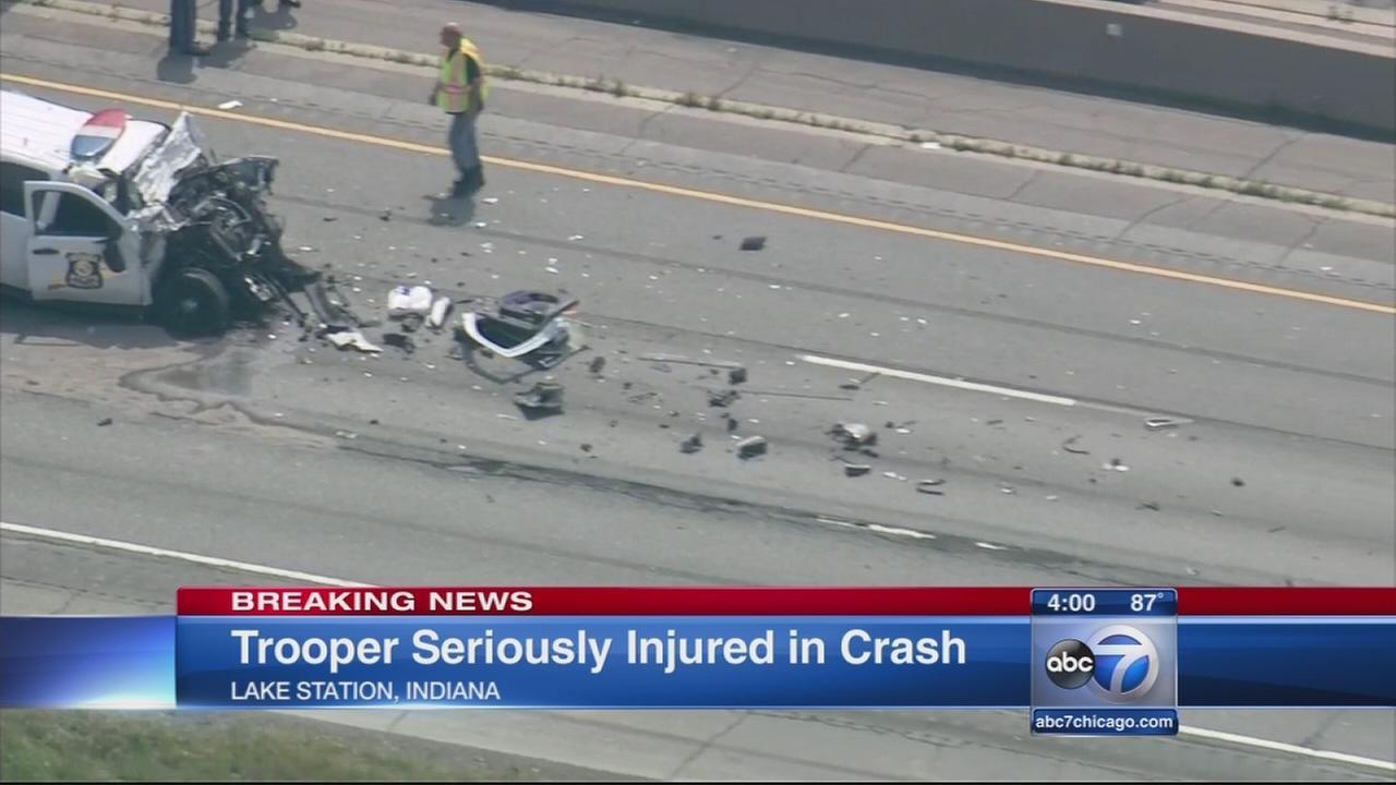 IN trooper hurt in crash