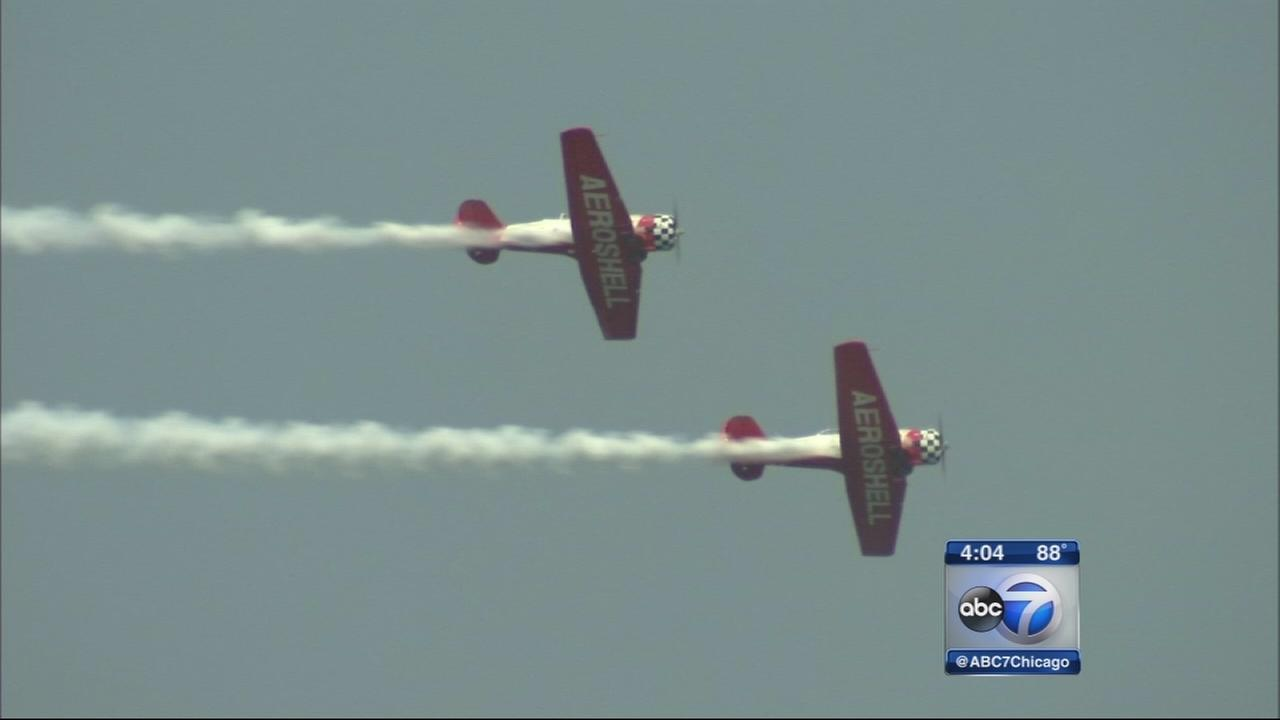 Planes fill sky ahead of air show