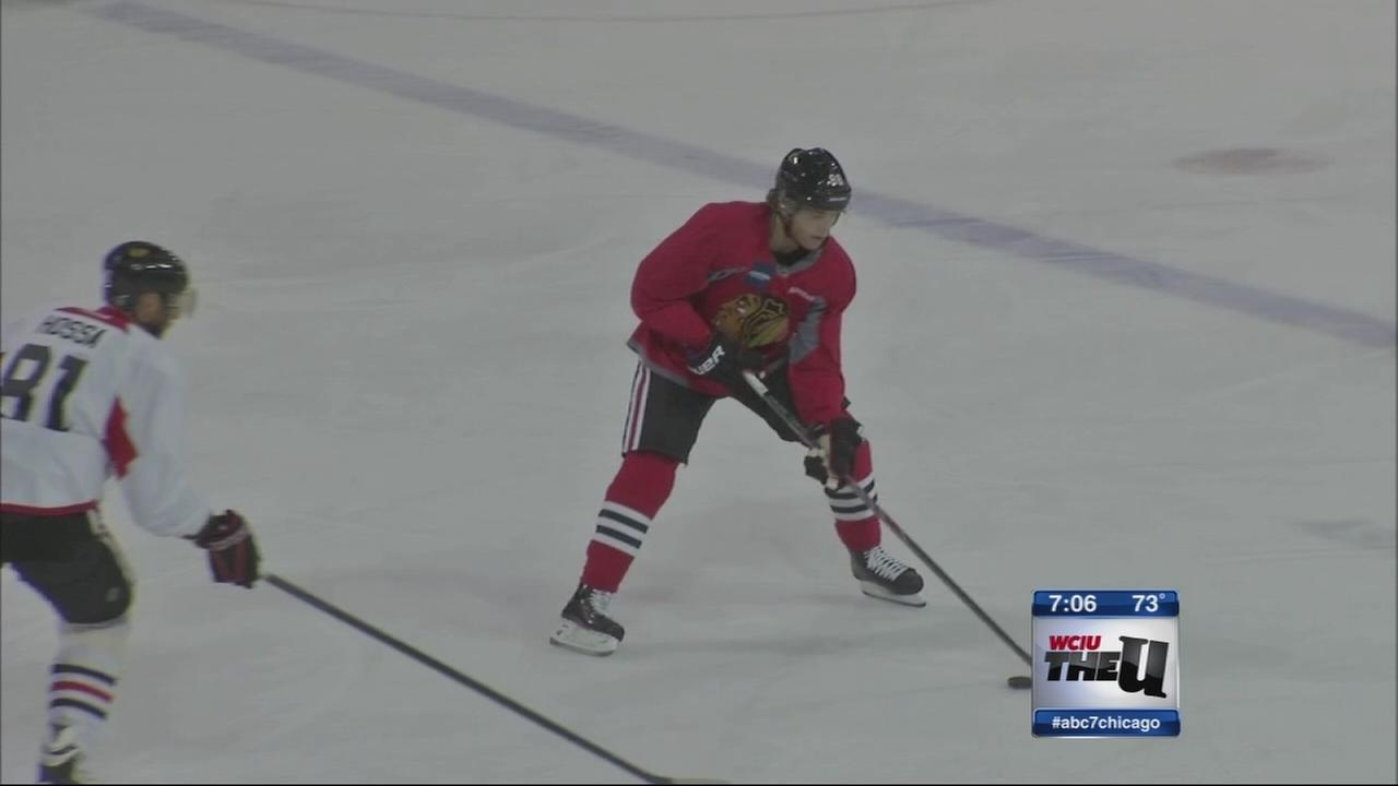 Kane hits the ice at Blackhawks training camp