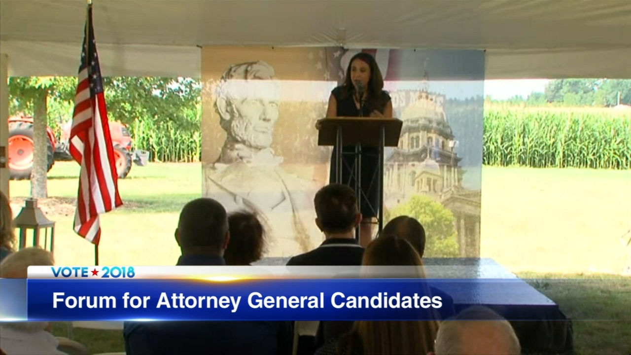 The candidates in the race for Illinois attorney general, Erika Harold and Kwame Raoul, answered questions during a forum Wednesday afternoon in Normal, Illinois.
