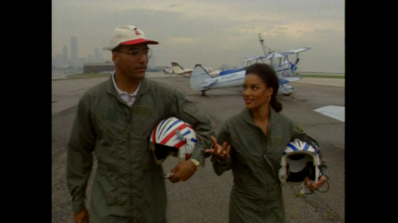 FROM THE ARCHIVE: ABC7s Cheryl Burton and Jim Rose take to the skies in dueling planes at the Chicago Air and Water Show in 1994.
