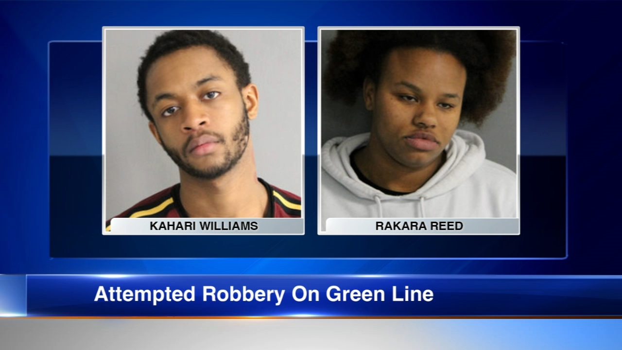 Chicago police have announced charges against two people accused of trying to rob a woman on a Green Line train.