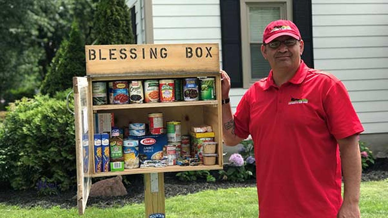 The concept is simple. The box is a miniature food pantry -- receiving items from those who want to donate, and offering it to those who need them.