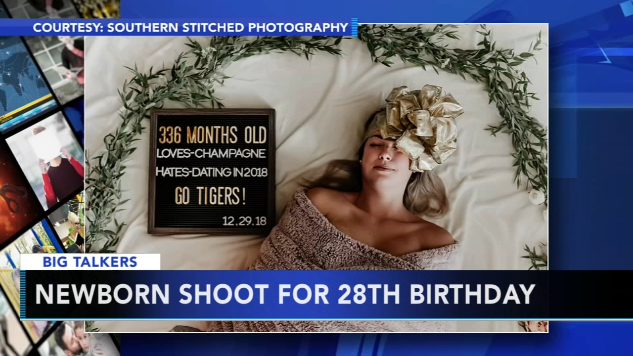 Heres proof that those swaddle photo shoots arent just for newborns! A womans 336-month birthday photo session is going wildly viral.