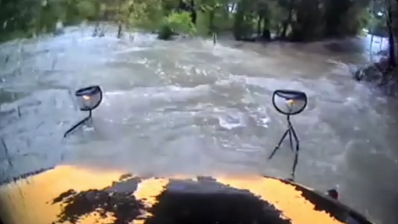 Video shows school bus swept away by floodwaters. Watch video from 6abc.com on October 29, 2018.