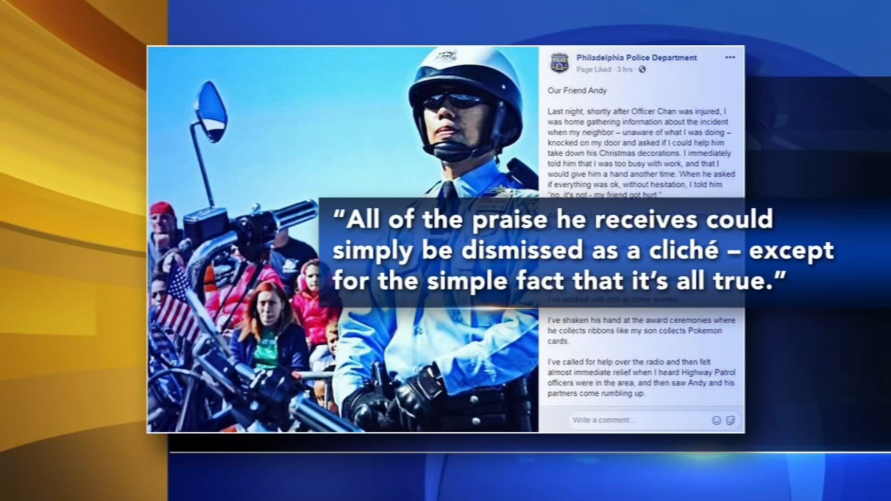 Outpouring of support for injured Philadelphia motorcycle officer. Bob Brooks reports during Action News at 4pm on January 4, 2019.