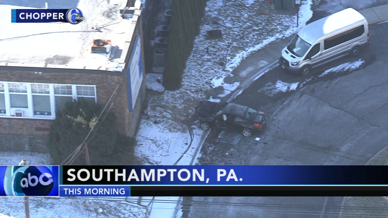 Car hits side of pre-school building in Bucks Co. Watch this report from Action News at Noon on January 15, 2019.