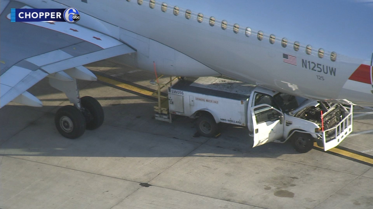 Maintenance truck crashes into airliner at Philadelphia International Airport. Jim Gardner reports during Action News at 6 p.m. on January 11, 2019.