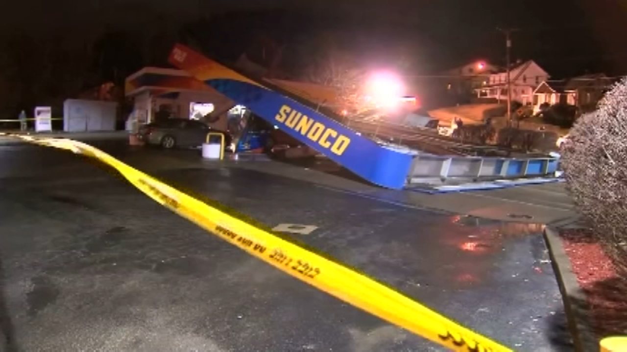 Sunoco gas station toppled by intense winds. Gray Hall reports during Action News at 9 a.m. on January 12, 2019.