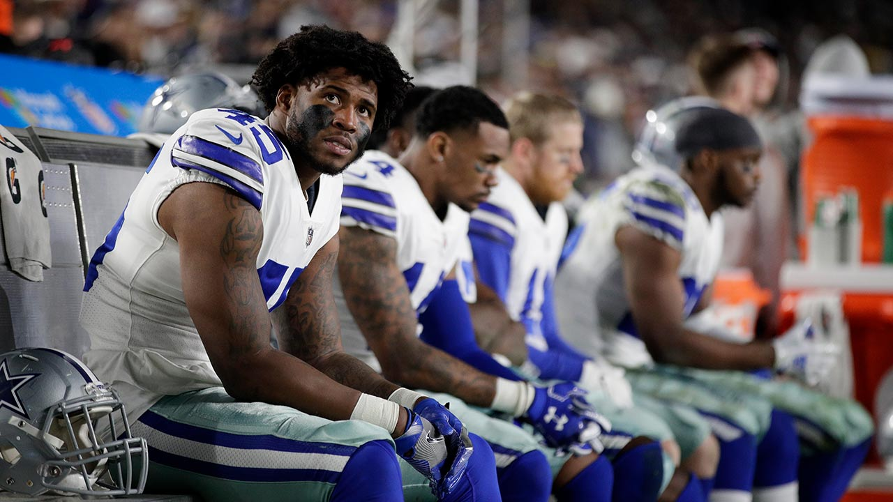 Dallas Cowboys running back Rod Smith sits on the bench during their loss against the Los Angeles Rams in an NFL divisional football playoff game Jan. 12, 2019, in Los Angeles.