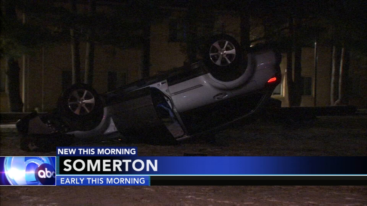 Driver flips car onto Somerton churchs front lawn. Matt ODonnell reports during Action News Mornings on January 14, 2019.
