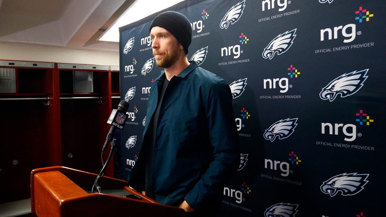 Philadelphia Eagles quarterback Nick Foles talks to media after an NFL divisional playoff football game against the New Orleans Saints.