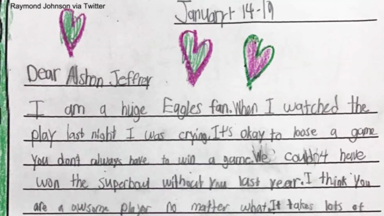 One second grader has captured the sentiment of many Eagles fans in a heartfelt letter to Alshon Jeffery.