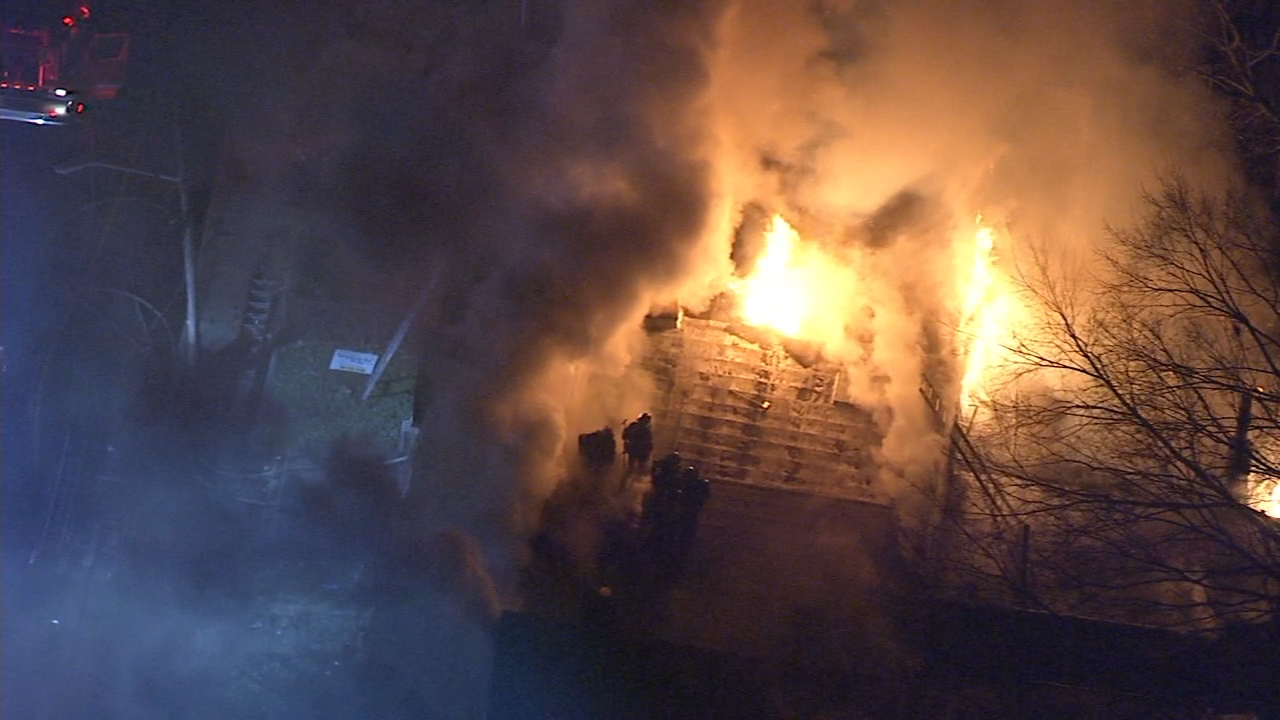 Chopper 6 was over the scene as a fire tore through several homes in Trenton, New Jersey on January 15, 2019.