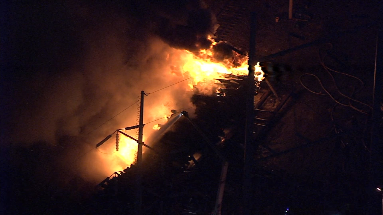 Chopper 6 over a fire near railroad tracks in University City, January 17, 2019