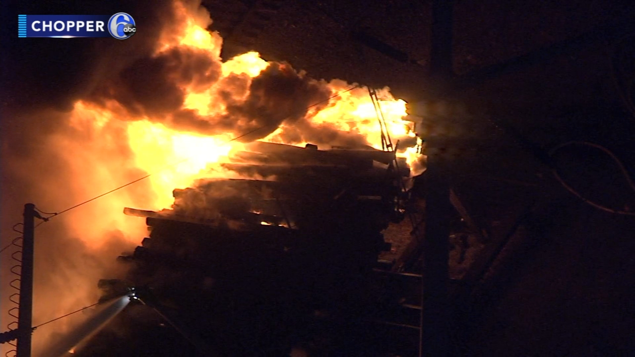 Fire adjacent to railroad tracks in University City: As seen on Action News at 11 p.m., January 17, 2019