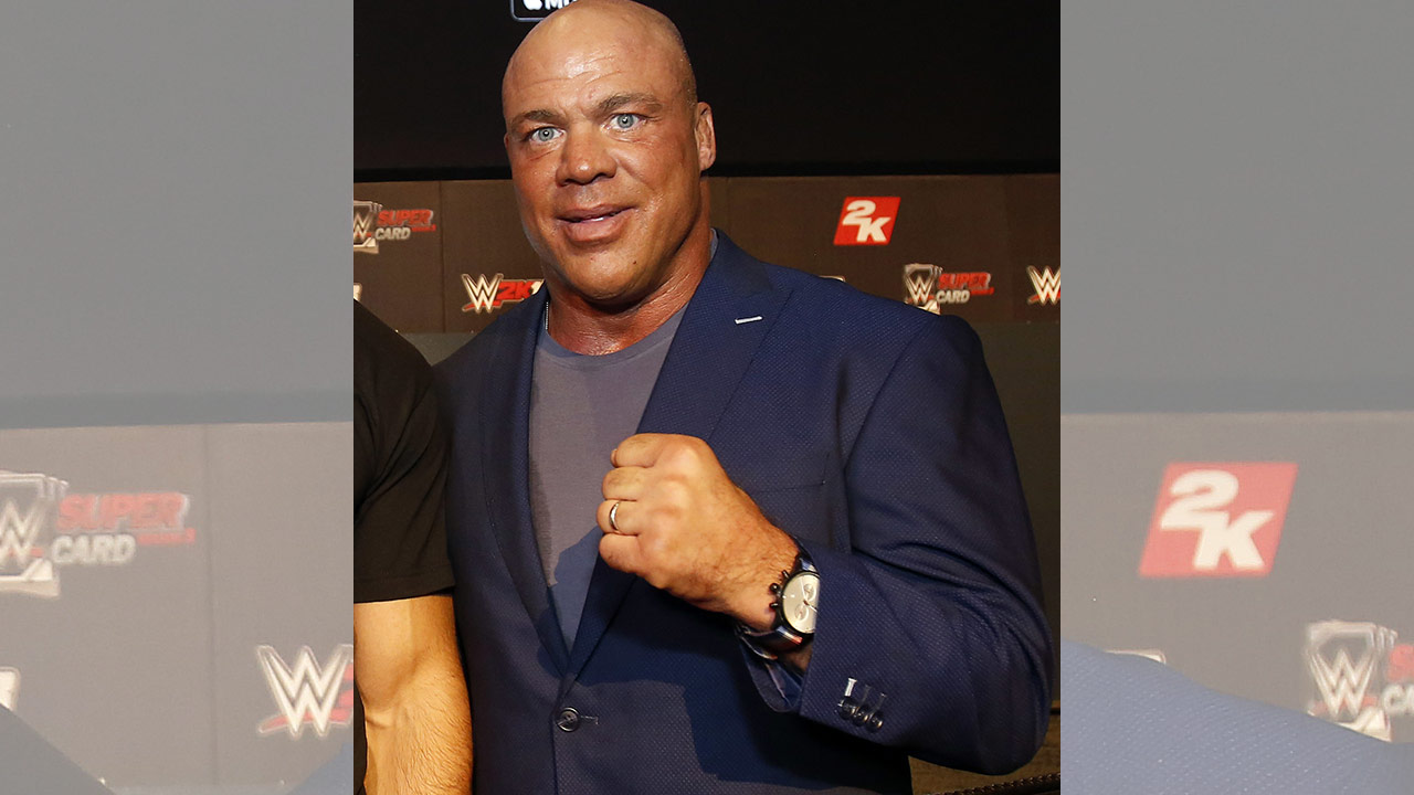 WWE Hall of Famer Kurt Angle seen at the WWE 2K18 SummerSlam Kickoff Event on Friday, Aug. 18, 2017, in New York.