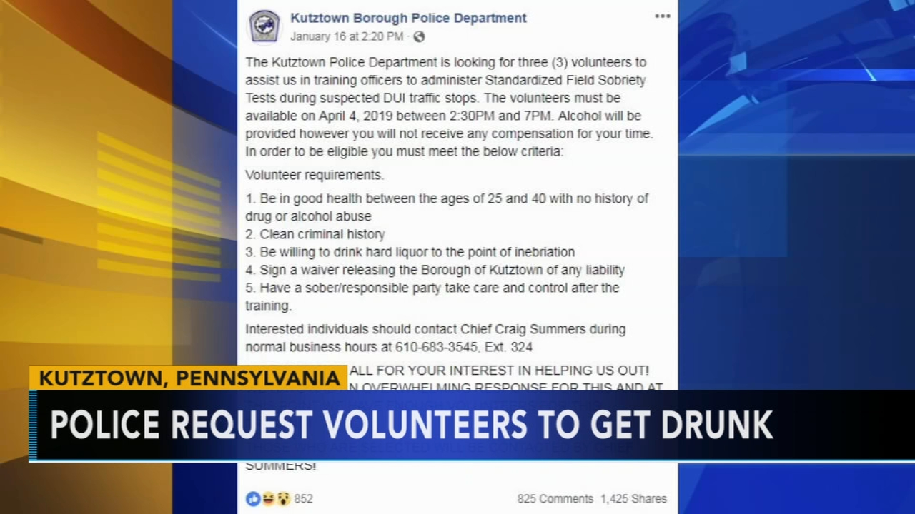 Kutztown police request volunteers to get drunk. Matt ODonnell reports during Action News Mornings on January 18, 2019.