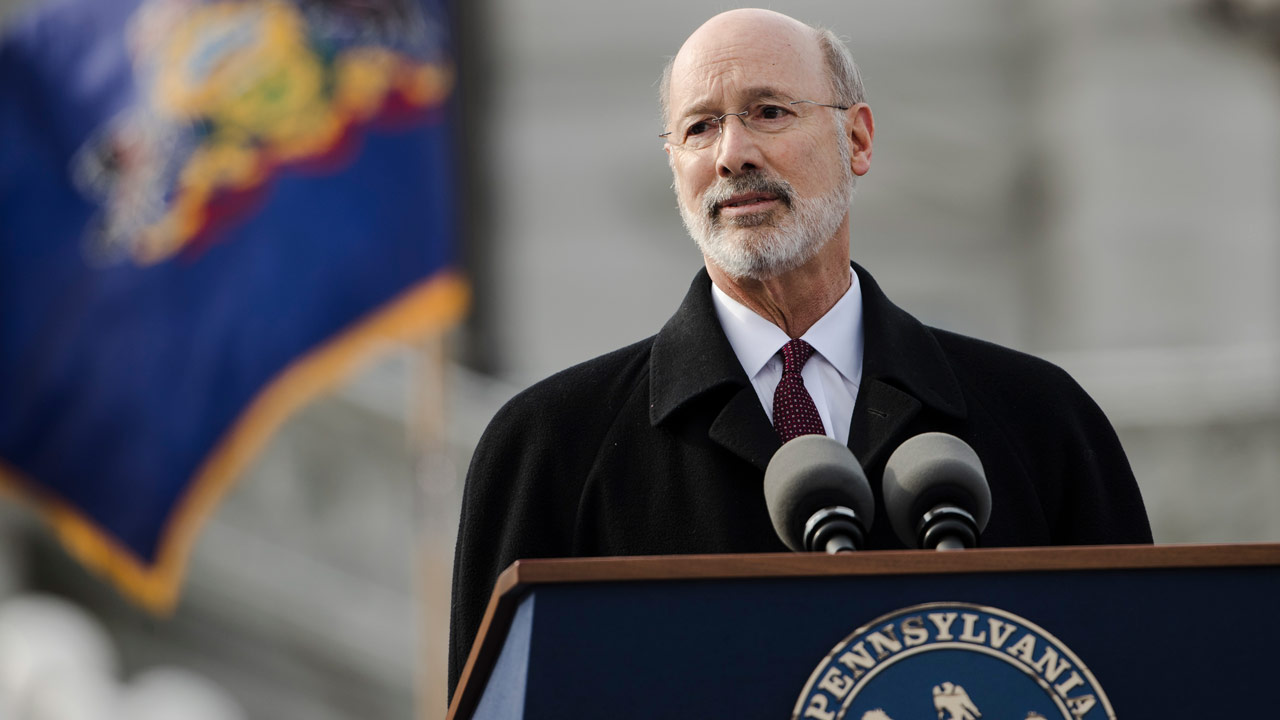 Pennsylvania Gov. Tom Wolf speaks after he was sworn in for his second term, Tuesday, Jan. 15, 2019, at the state Capitol in Harrisburg, Pa.