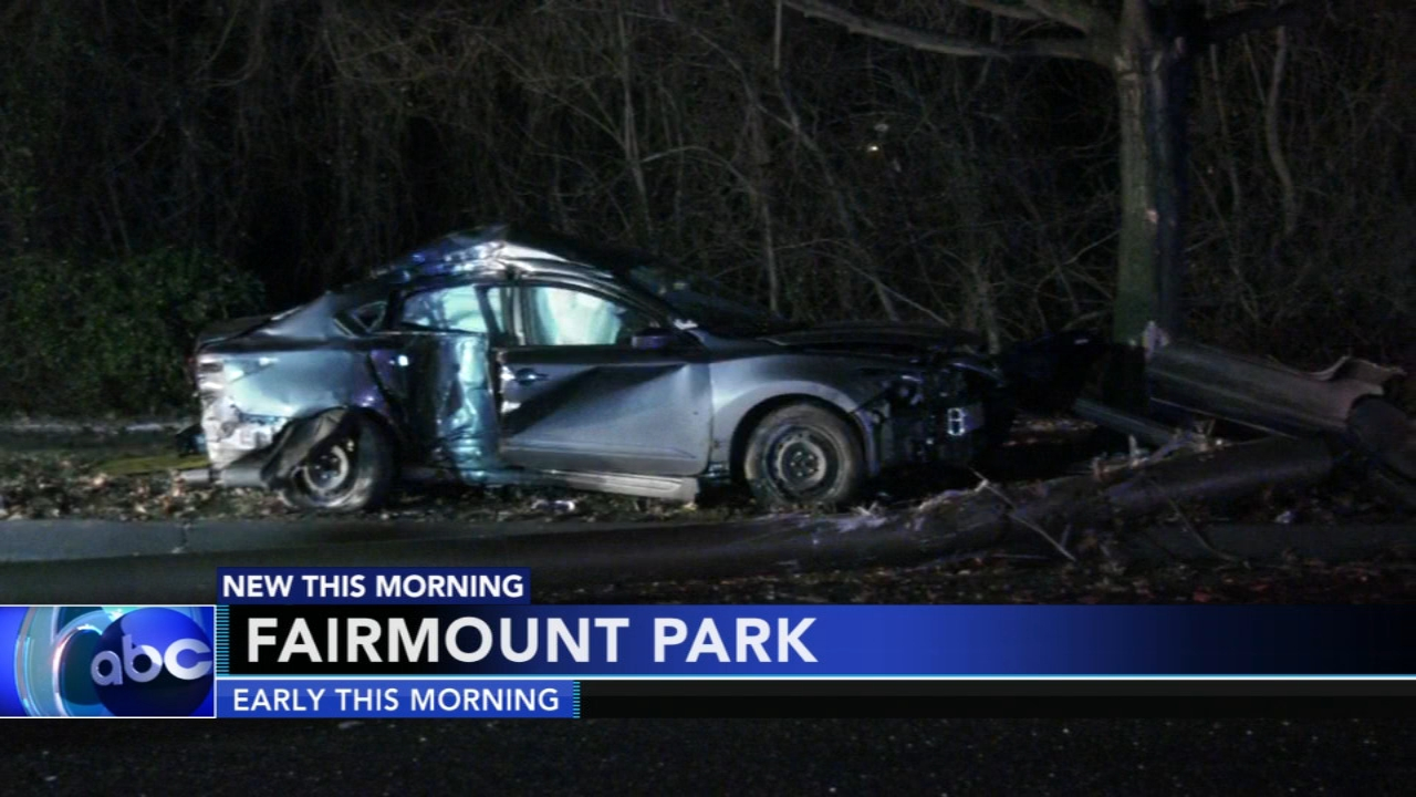 Driver trapped inside car after hitting light pole in Fairmount Park. Gray Hall reports during Action News at 6 a.m. on January 19, 2019.