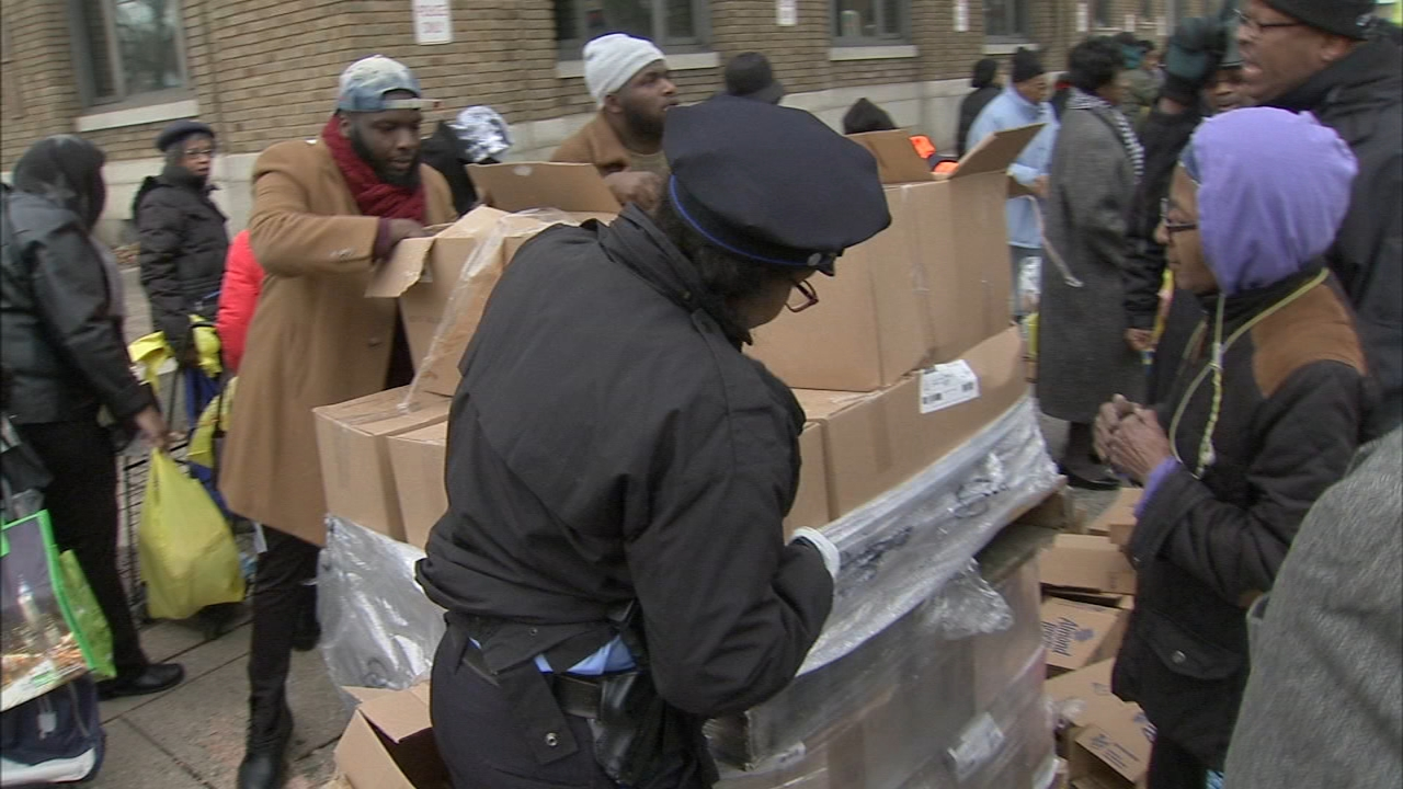 Police officials give away food ahead of the storm in Hunting Park. Gray Hall reports during Action News at 6 a.m. on January 20, 2019.