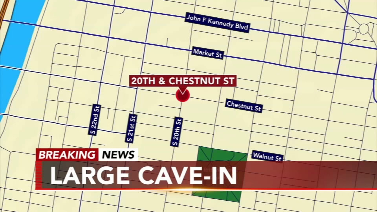 Large cave-in at 20th and Chestnut streets: as seen on Action News at 5 p.m., January 21, 2019