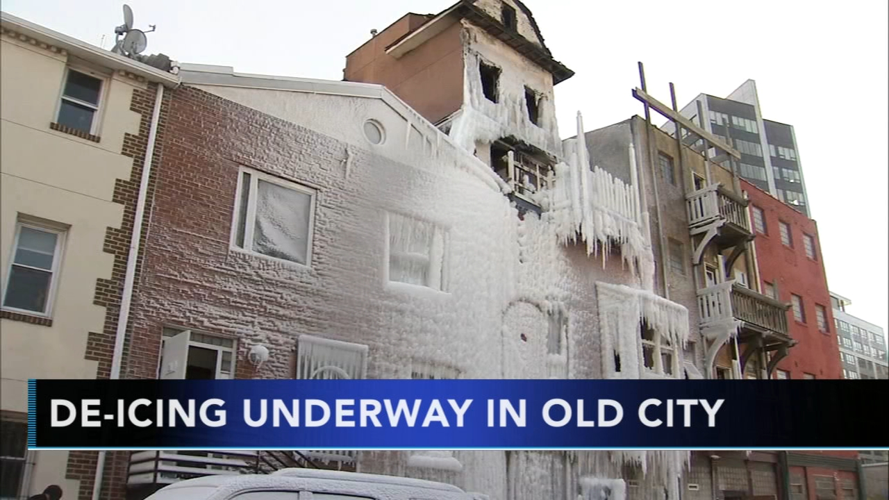 Work underway to free burned building from layer of ice. Sarah Bloomquist reports during Action News at 5pm on January 22, 2019.