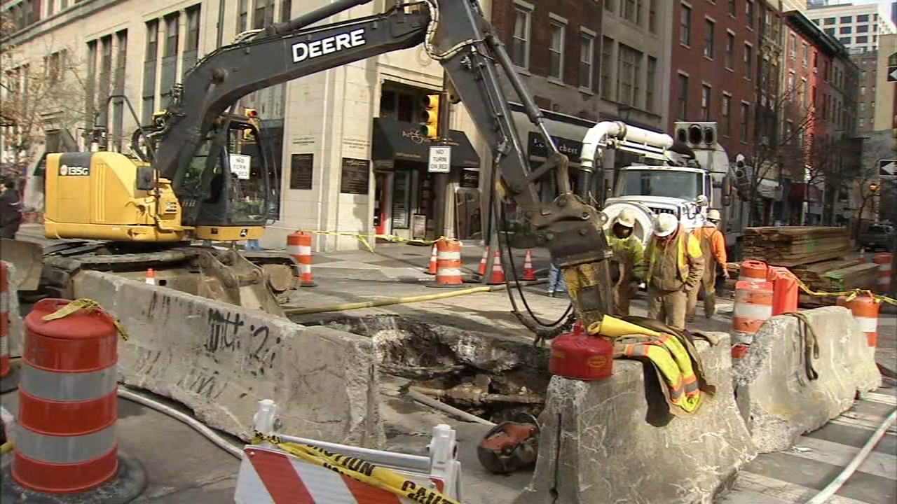 Repairs to Center City intersection to take several weeks. Sarah Bloomquist reports during Action News at 4pm on January 28, 2019.