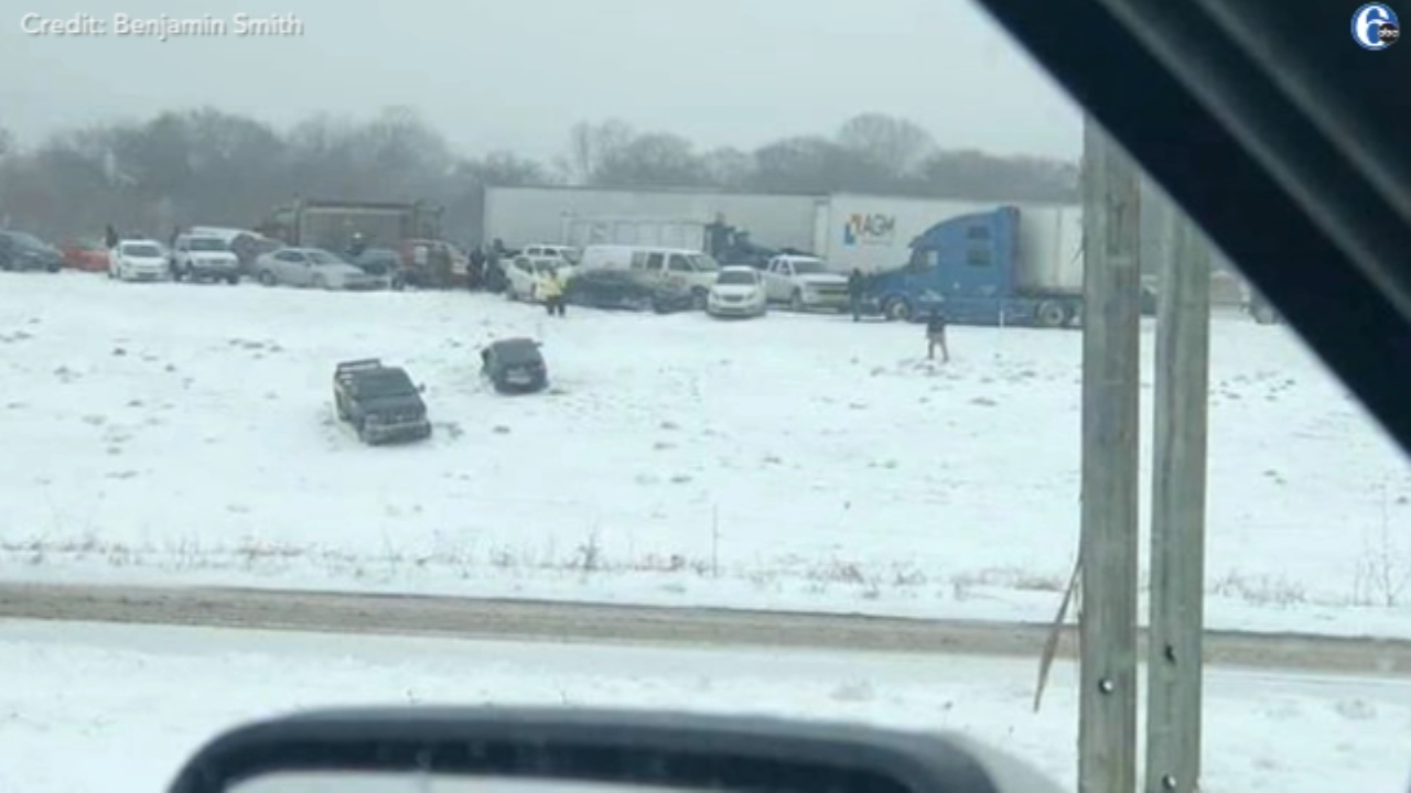 Rescuers called to large pileup during snow squall on Rt. 222. Watch the report from 6abc.com on January 30, 2019.