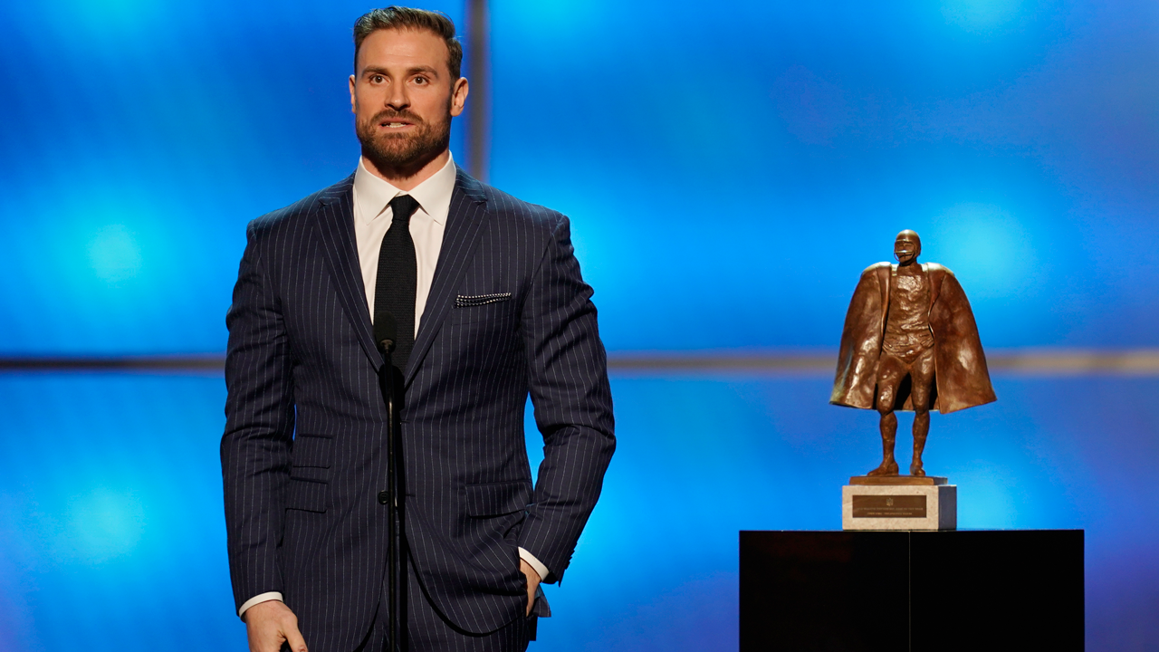 Chris Long of the Philadelphia Eagles accepts the Walter Payton NFL man of the year award at the 8th Annual NFL Honors at The Fox Theatre on Saturday, Feb. 2, 2019, in Atlanta.