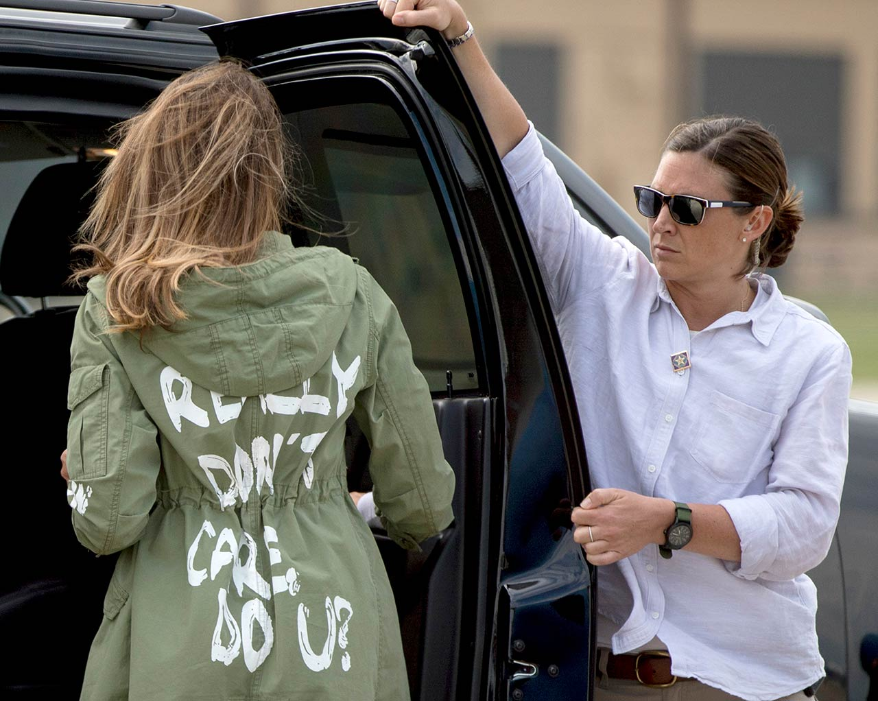 Melania Trump walks to her vehicle as she arrives at Andrews Air Force Base, Md., Thursday, June 21, 2018, after visiting the Upbring New Hope Children Center in Texas.