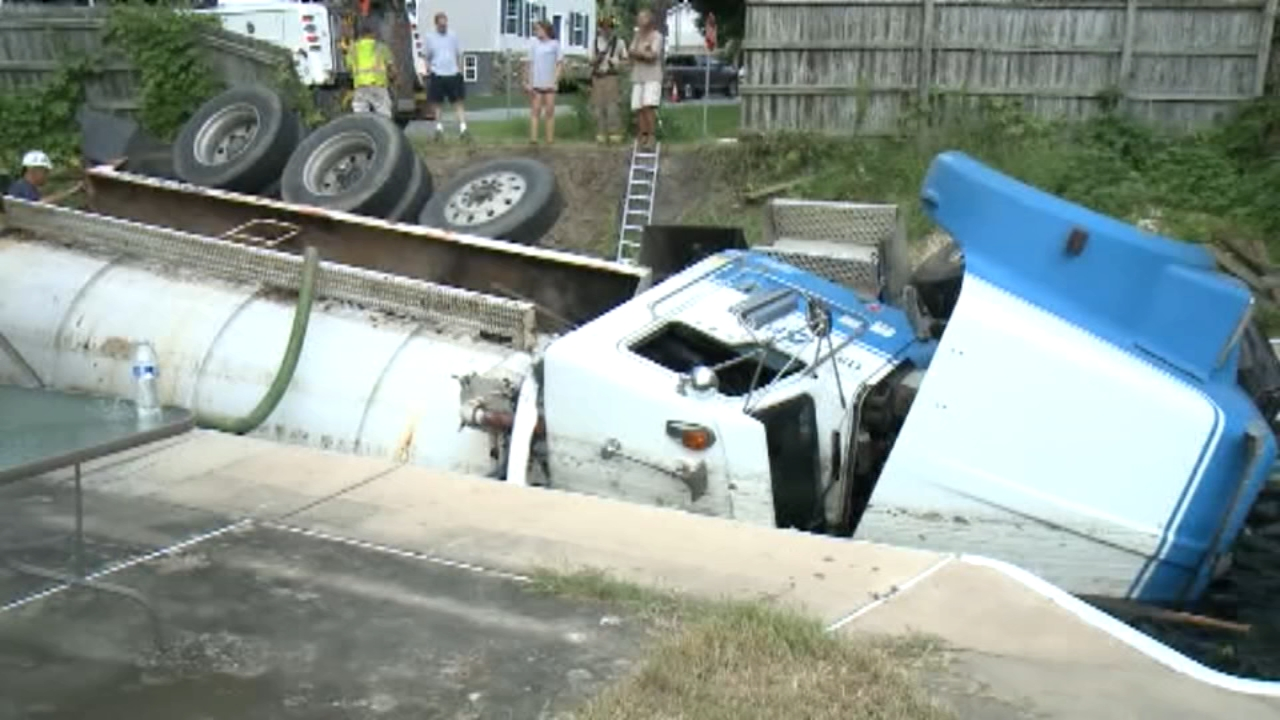 Septic truck plunges into backyard pool in Lancaster County. Watch the report from Action News at Noon on August 10, 2018.