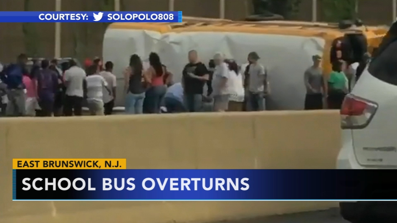 School bus overturns on NJ Turnpike, no serious injuries. Walter Perez reports during Action News at 11 p.m. on August 11, 2018.