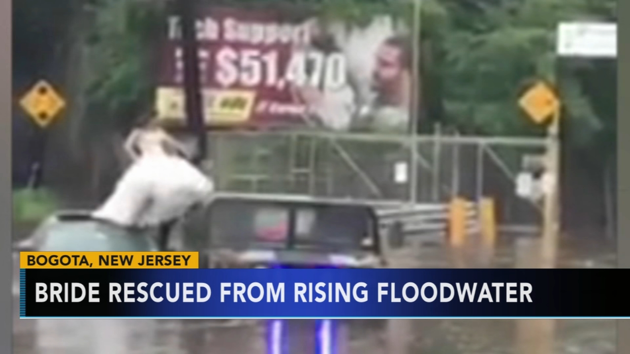 New Jersey bride rescued from flood waters. Jeannette Reyes reports during Action News at 9 a.m. on August 12, 2018.