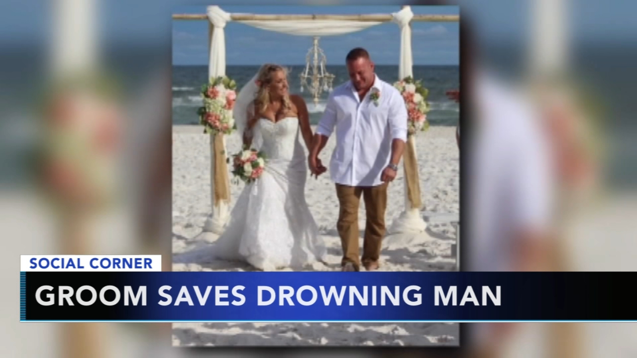 Groom saves drowning man moments after exchanging vows. Jeannette Reyes reports during Action News at 10 a.m. on August 12, 2018.