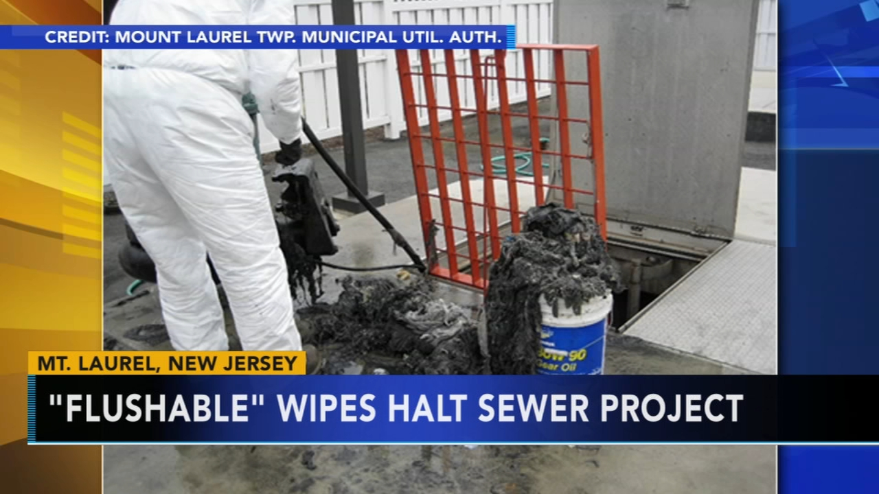 Photos shows flushable wipes clogging NJ sewer. Watch the report from Action News at 4:30 p.m. on August 13, 2018.