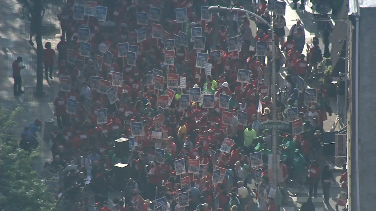 Chopper 6 was over union workers marching in support of immigrant rights in Center City on August 15, 2018.