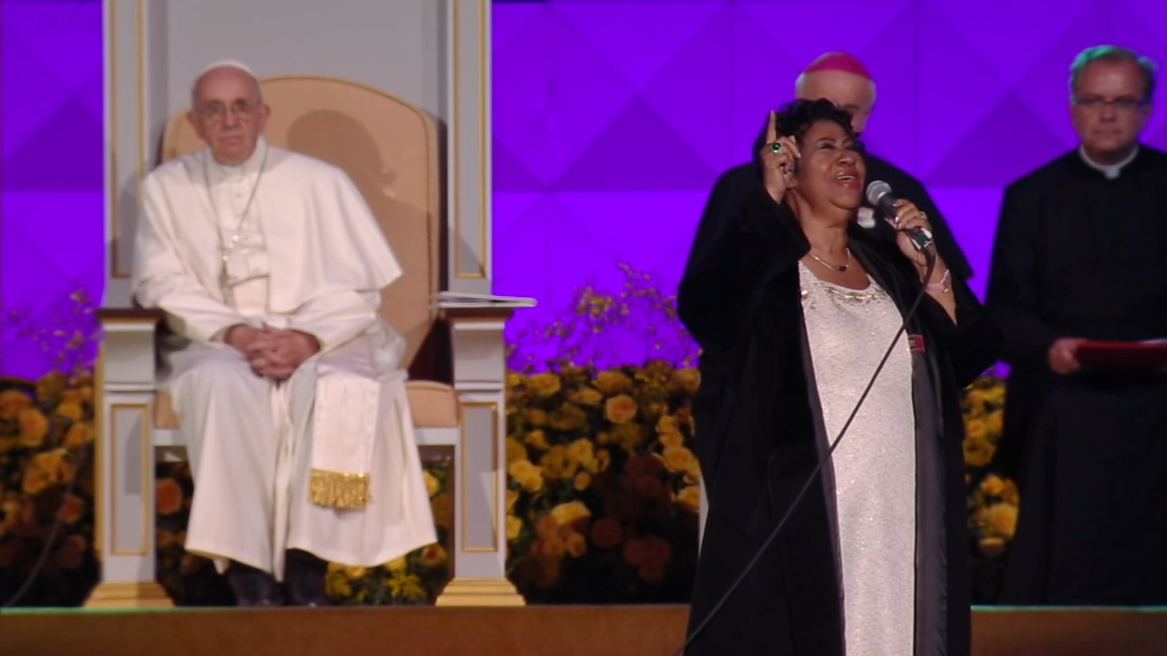 Aretha Franklin performs for Pope Francis at the World Meeting of Families in Philadelphia in September of 2015.