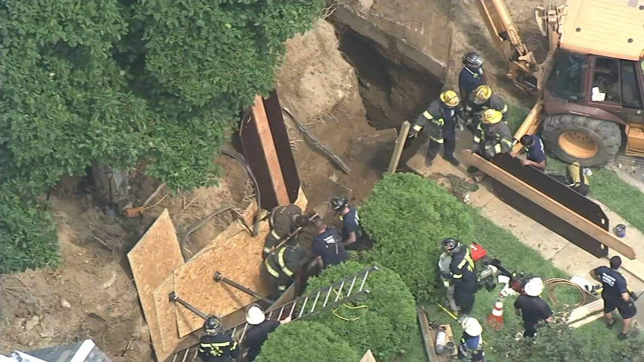 Trench collapses, trapping man in East Oak Lane. Watch the report from Action News at 4 p.m. on August 16, 2018.