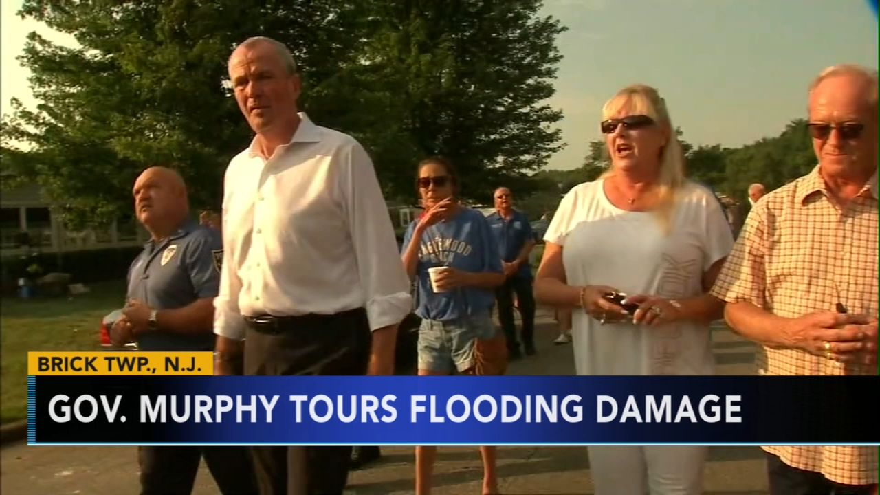 Gov. Murphy tours flood damage in Brick Twp., New Jersey. Watch the report from Action News at 4 p.m. on August 17, 2018.