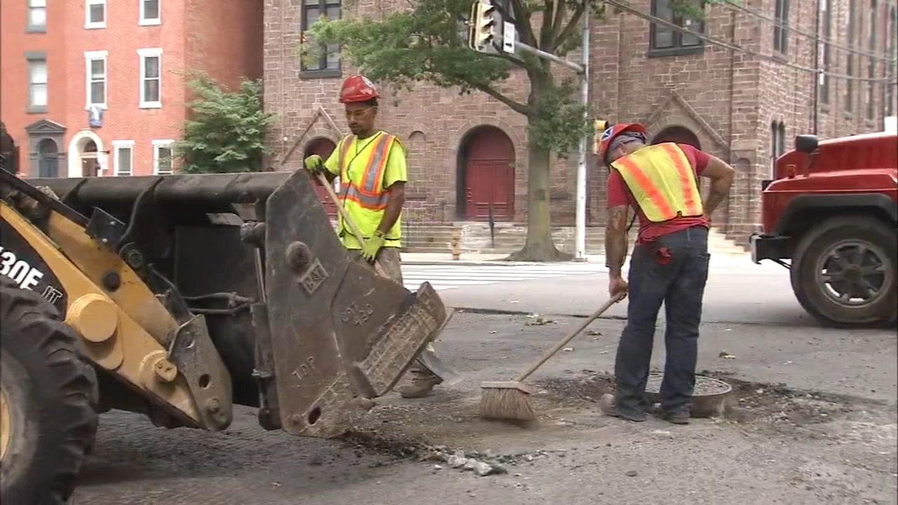 Crews begin repairing streets in Spring Garden. John Rawlins reports during Action News at 4:30 p.m. on August 17, 2018.