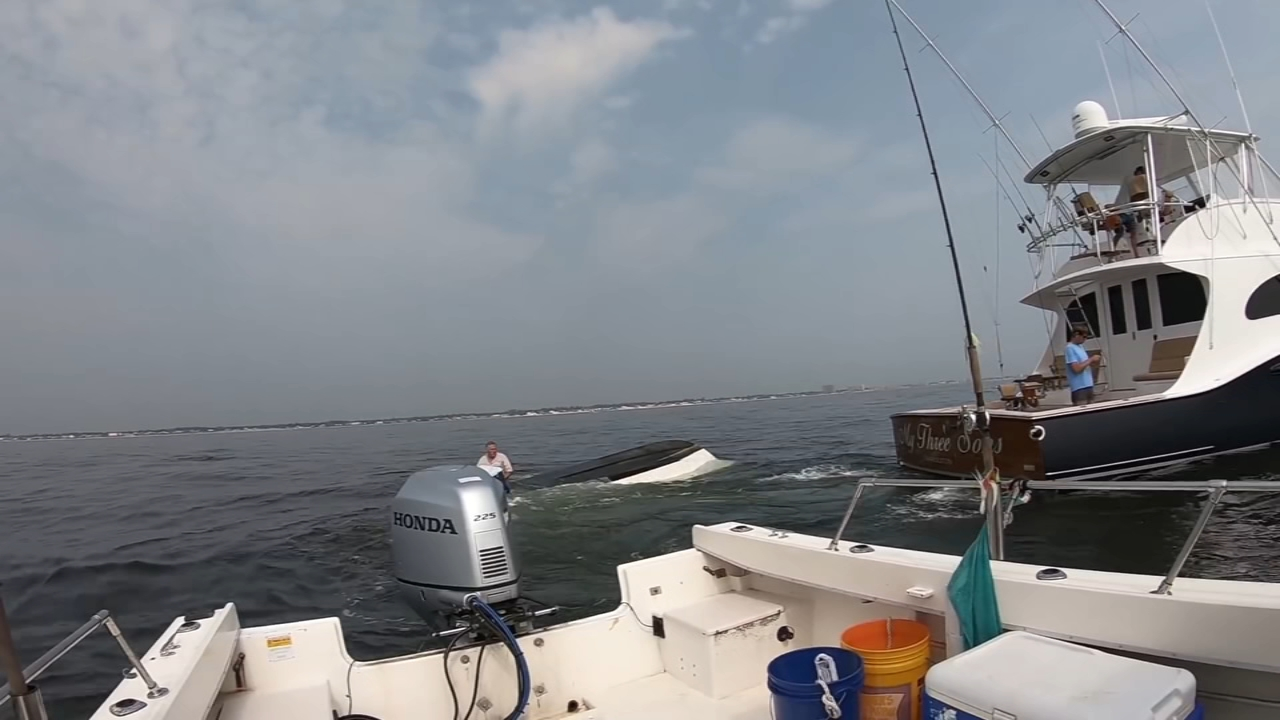 Rescue after whale flips over boat off Jersey Shore. Credit: Gary Szabo
