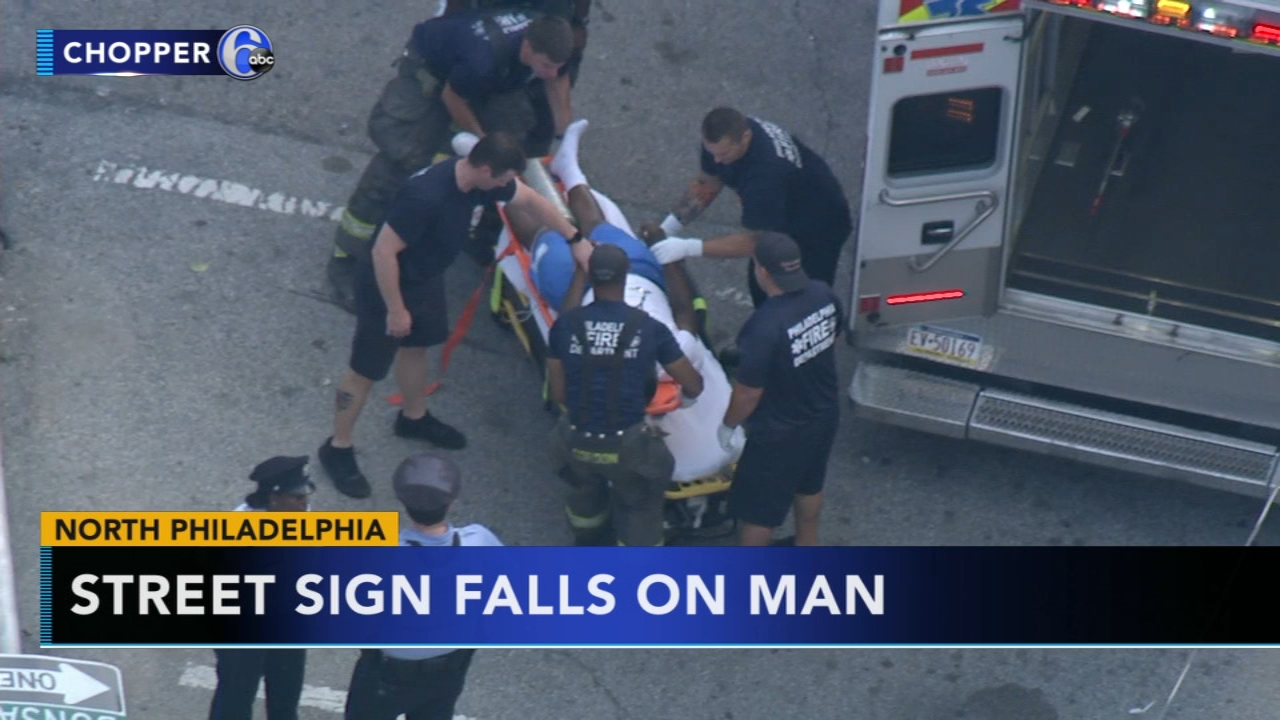 Man injured after street sign falls on him in North Philadelphia. Jim Gardner reports during Action News at 11 p.m. on August 17, 2018.