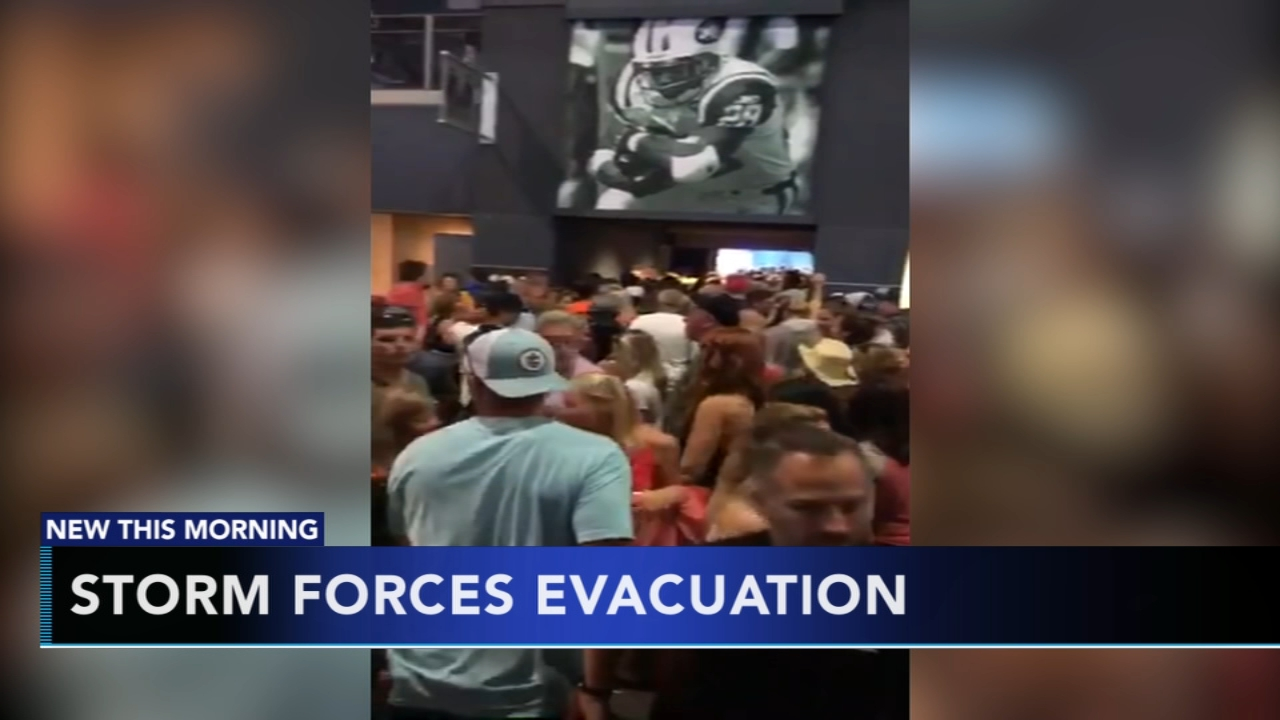 Weekend storms force evacuation of MetLife Stadium ahead of concert. Gray Hall reports during Action News at 9 a.m. on August 19, 2018.