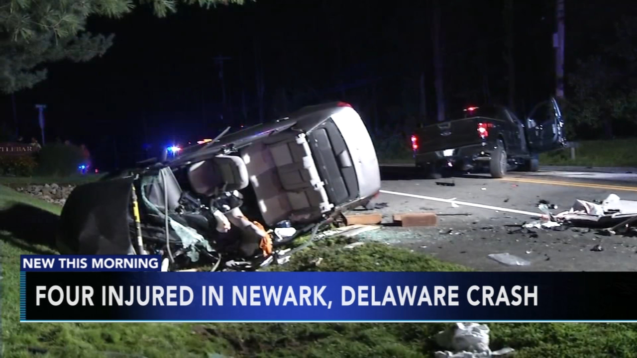 4 hurt following crash in Newark, Delaware. Gray Hall reports during Action News at 6 a.m. on August 19, 2018.