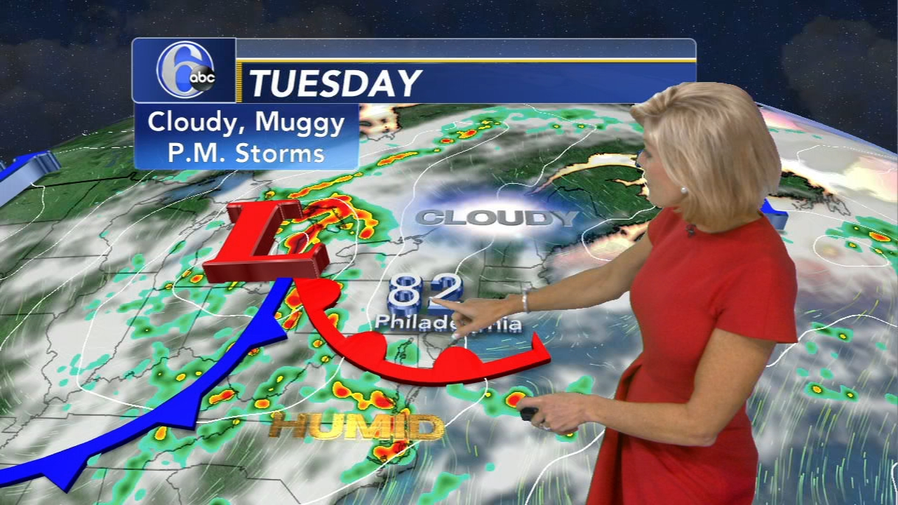 Cecily Tynan Accuweather Forecast during Action News at 11 on August 20, 2018.