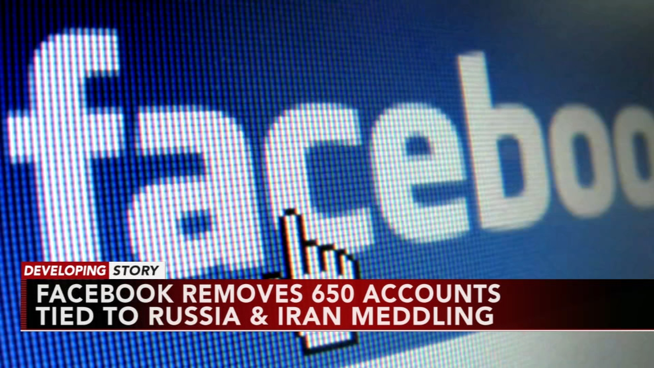 Facebook says it has removed more than 650 pages, groups, and accounts linked to Russia and Iran as reported during Action News at 11 on August 21, 2018.