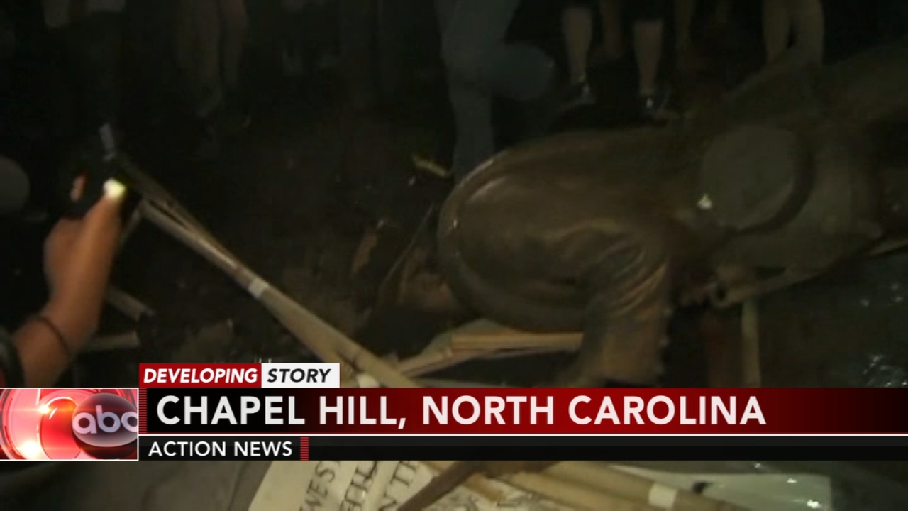 Confederate statue on UNC campus toppled by protesters. Matt ODonnell reports during Action News Mornings on August 21, 2018.
