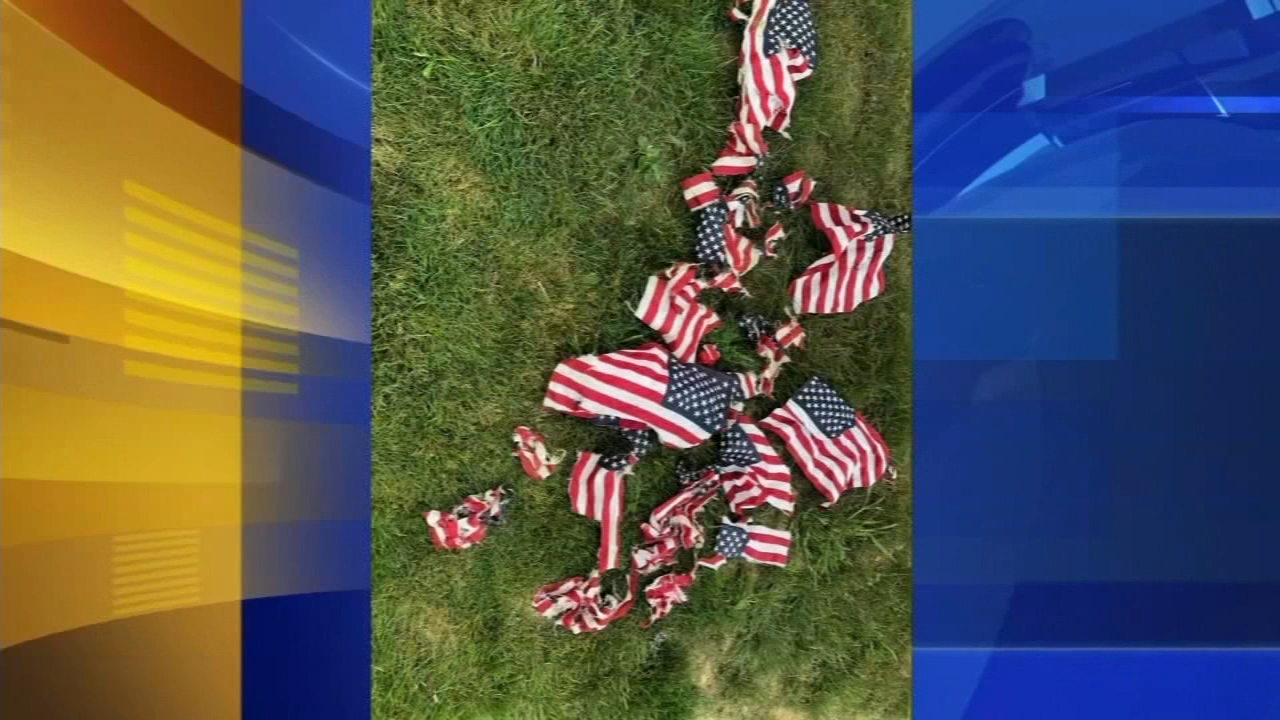 American flags mowed down at Hatboro, Pa. cemetery. John Rawlins reports during Action News a 4pm on August 22, 2018.