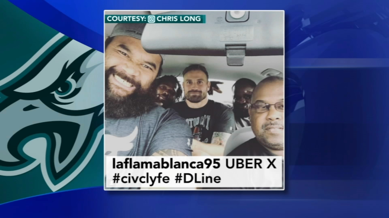Chris Long shares photo of Eagles D-Line squeezed into Uber. Watch the report from Action News at 4 p.m. on August 23, 2018.